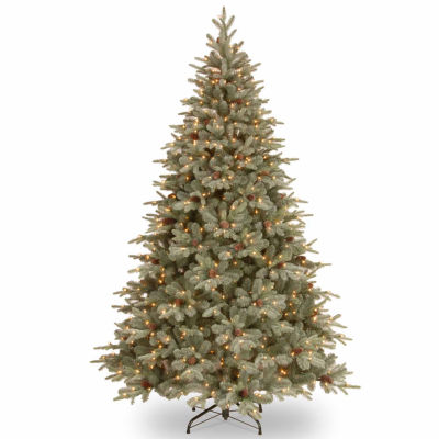 National Tree Co. 7 1/2 Foot Frost-Artic Spruce Hinged Pre-Lit Christmas Tree