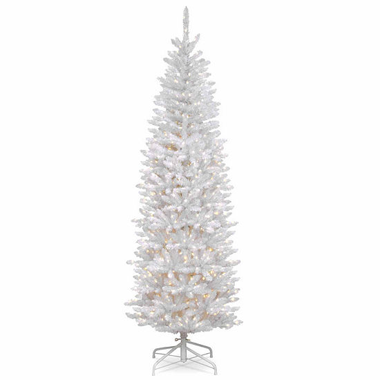 National Tree Co. 7 Foot Kingswood White Fir Hinged Pencil Fir Pre-Lit Christmas Tree