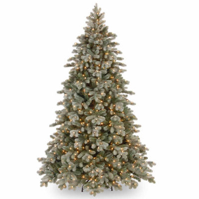 National Tree Co. 7 1/2 Foot Poly Frosted Colorado Spruce Hinged Pre-Lit Christmas Tree
