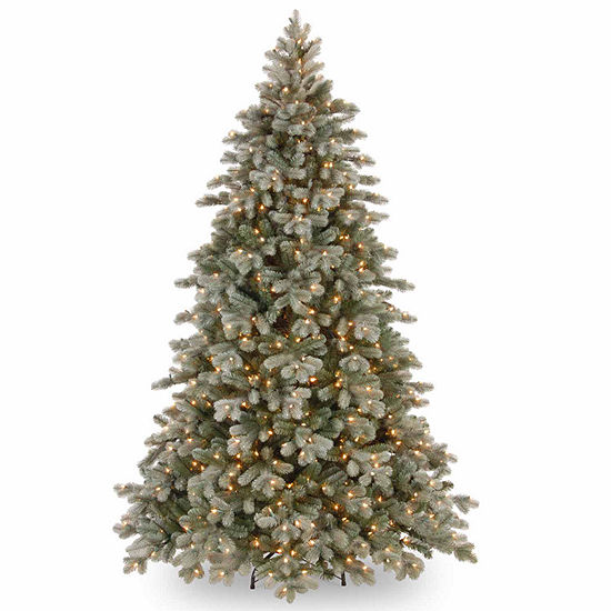 National Tree Co. 7 1/2 Foot Poly Frosted Colorado Spruce Hinged Spruce Pre-Lit Christmas Tree