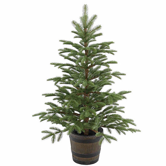 National Tree Co 4 Foot Norwedgian Spruce Entrance Whiskey Barrel Spruce Christmas Tree