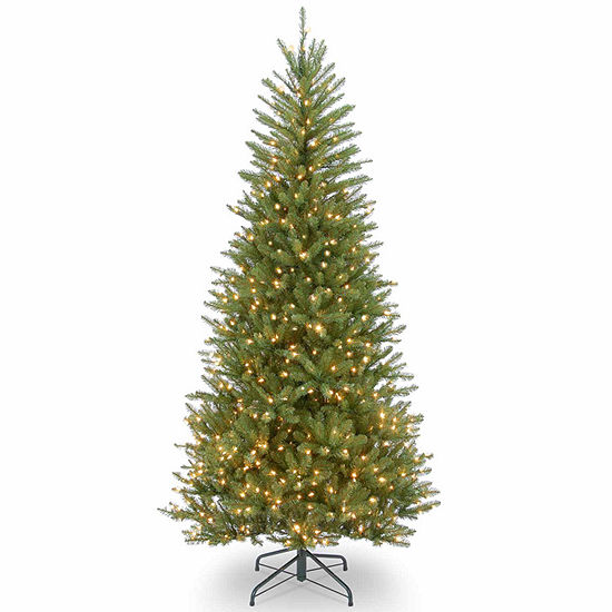 National Tree Co. 7 1/2 Foot Dunhill Slim Fir Hinged Fir Pre-Lit Christmas Tree
