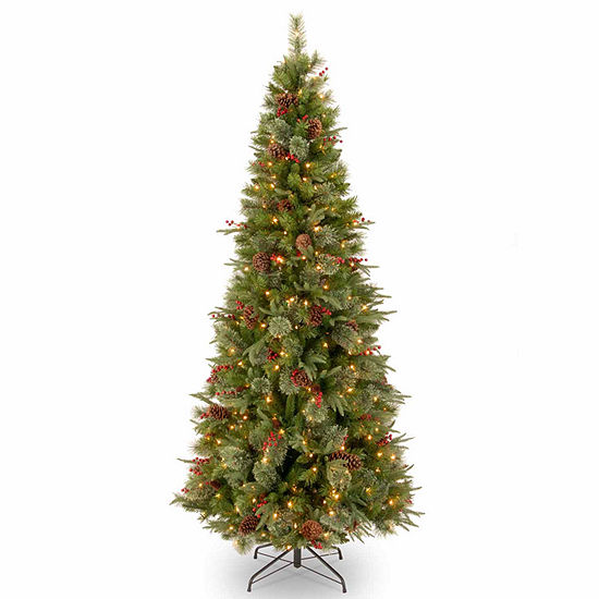 "National Tree Co. 7 1/2 Foot Feel-Real"" Colonial Slim Hinged"" Pre-Lit Christmas Tree"