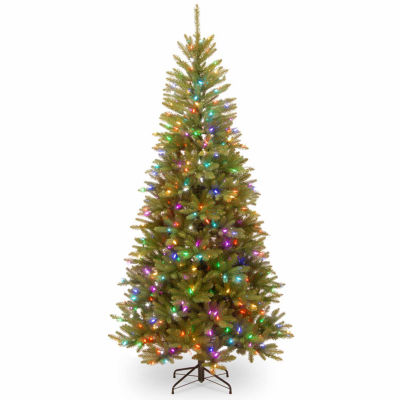 National Tree Co. 7 1/2 Foot Dunhill Fir Mixed Slim Pre-Lit Christmas Tree