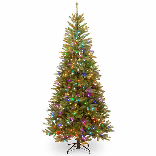 National Tree Co. 7 1/2 Foot Dunhill Fir Mixed Slim Fir Pre-Lit Christmas Tree