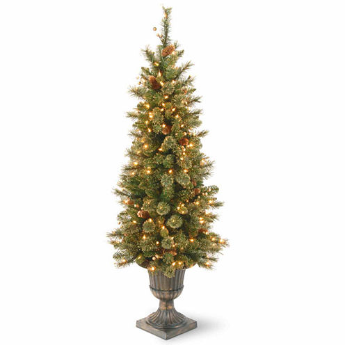 National Tree Co. 4 Foot Glistening Pine Entrance Pre-Lit Christmas Tree