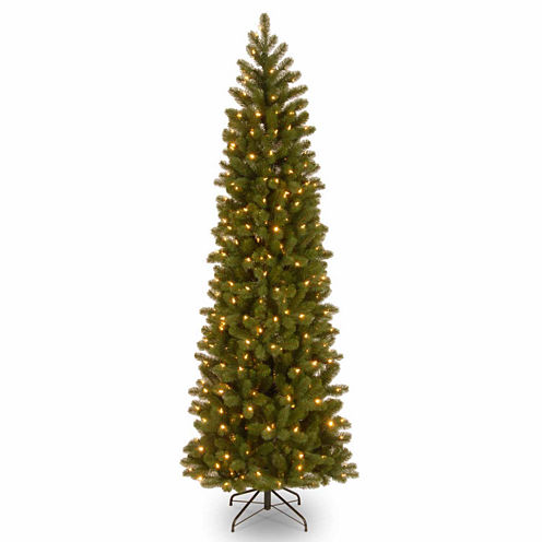National Tree Co. 7 1/2 Foot Downswept Douglas Fir Pencil Hinged Pre-Lit Christmas Tree