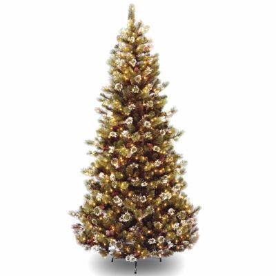 National Tree Co. 7 1/2 Foot Glittery Pine Hinged Pine Pre-Lit Christmas Tree