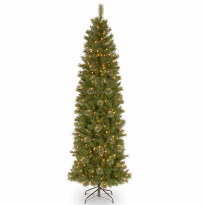 National Tree Co. 7 1/2 Foot Tacoma Pine Pencil Slim Pine Pre-Lit Christmas Tree