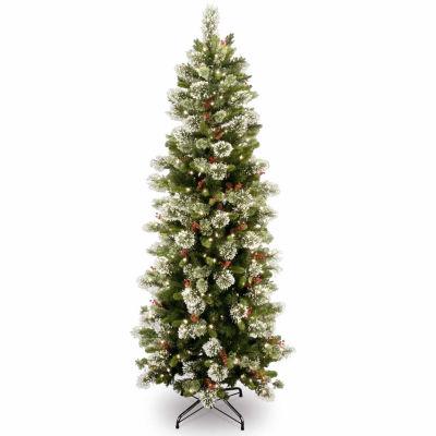 National Tree Co. 7 1/2 Foot Wintry Pine Slim Pine Pre-Lit Christmas Tree