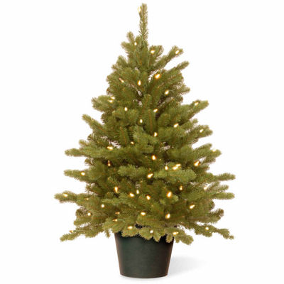 National Tree Co. 3 Foot Hampton Spruce Small Wrapped Spruce Pre-Lit Christmas Tree