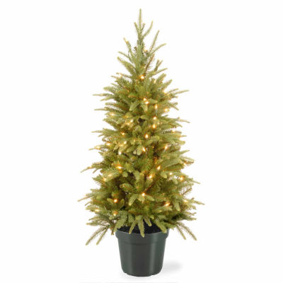 National Tree Co. 4 Foot Weeping Spruce Wrapped Spruce Pre-Lit Christmas Tree
