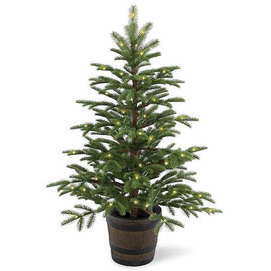 National Tree Co. 4 Foot Norwegian Spruce Wiskey Barrel Spruce Pre-Lit Christmas Tree