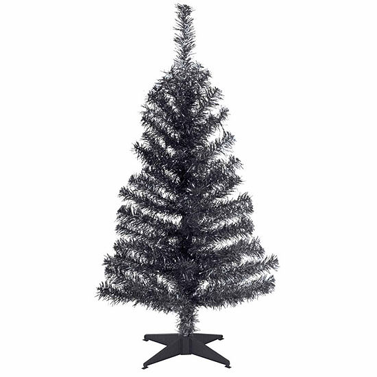 National Tree Co. 3 Foot Black Tinsel Christmas Tree