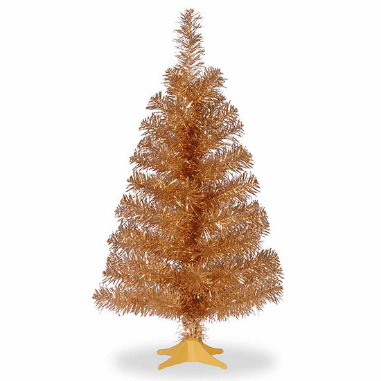 National Tree Co. 3 Foot Champagne Tinsel Christmas Tree