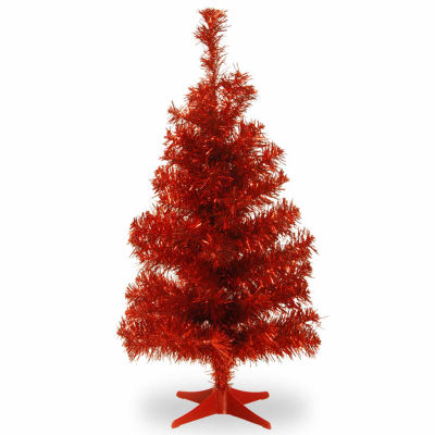 National Tree Co. 3 Foot Red Tinsel Christmas Tree