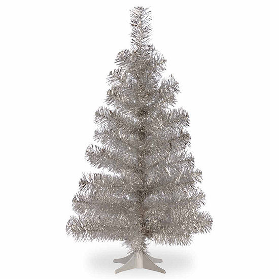 National Tree Co. 3 Foot Silver Tinsel Christmas Tree