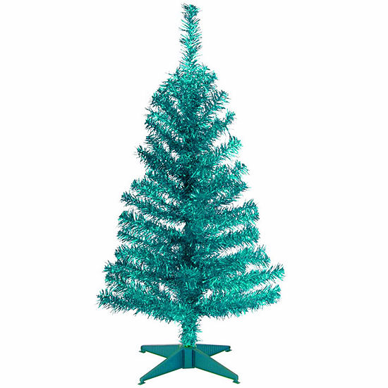 National Tree Co. 3 Foot Turquoise Tinsel Christmas Tree