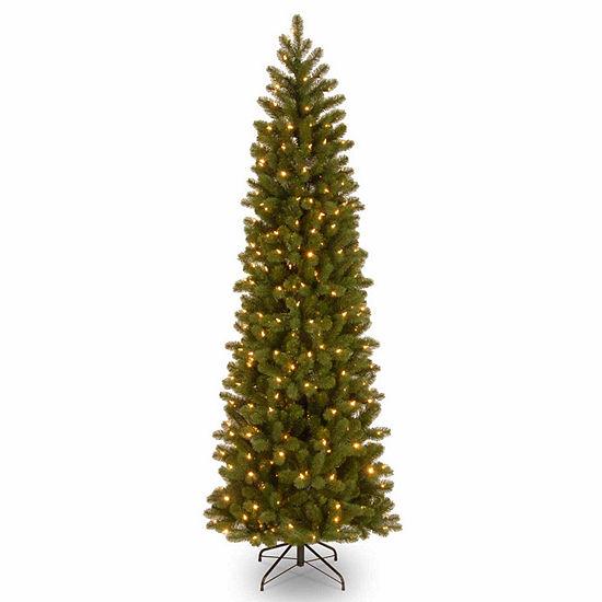 National Tree Co. 7 1/2 Foot Downswept Douglas Fir Slim Hinged Fir Pre-Lit Christmas Tree