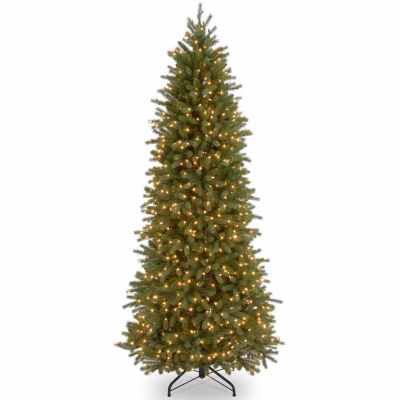 National Tree Co. 7 1/2 Foot Jersey Fraser Pencil Slim Pre-Lit Christmas Tree