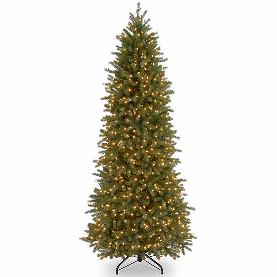 National Tree Co. 7 1/2 Foot Jersey Fraser Pencil Slim Fir Pre-Lit Christmas Tree