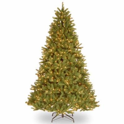 National Tree Co. 7 1/2 Foot Grande Fir Hinged Pre-Lit Christmas Tree