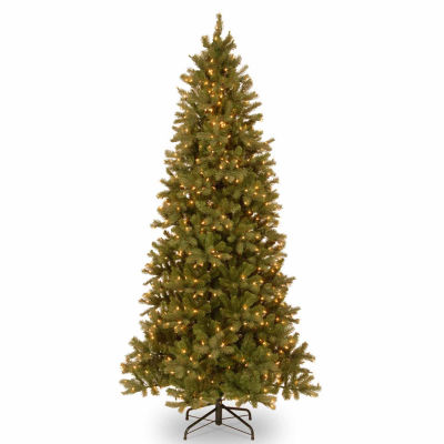 National Tree Co. 9 Foot Downswept Douglas Fir Slim Hinged Fir Pre-Lit Christmas Tree