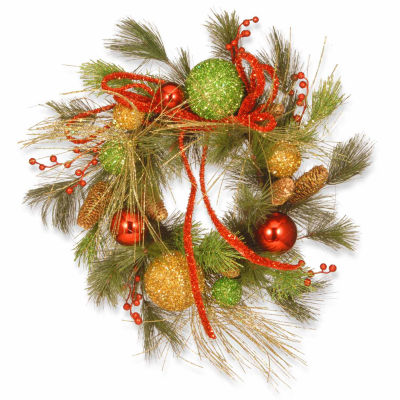 National Tree Co. Green And Gold Bristle Branch Tips Indoor/Outdoor Christmas Wreath
