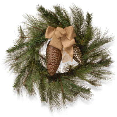 National Tree Co. Gold Ribbon Indoor/Outdoor Christmas Wreath
