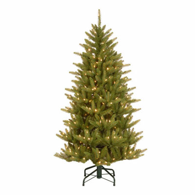 National Tree Co. 4 1/2 Foot Natural Frasier Slim Hinged Pre-Lit Christmas Tree