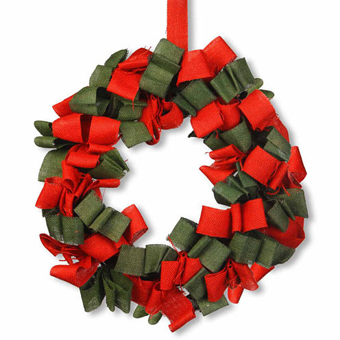 National Tree Co. Red And Green Burlap Indoor/Outdoor Christmas Wreath