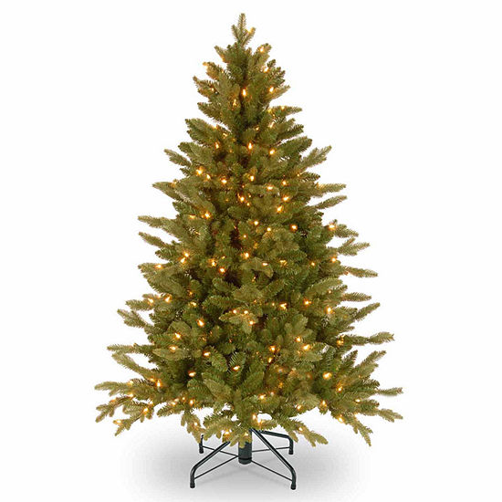 "National Tree Co. 4 1/2 Foot Feel-Real"" Avalon Spruce Hinged"" Spruce Pre-Lit Christmas Tree"