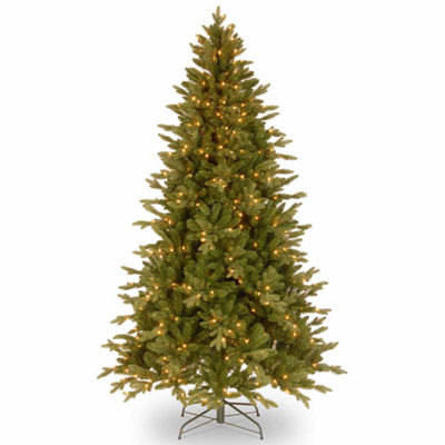 "National Tree Co. 7 1/2 Foot Feel-Real"" Avalon Spruce Hinged"" Spruce Pre-Lit Christmas Tree"
