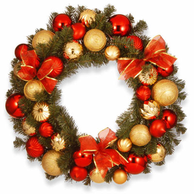 National Tree Co. Red And Gold Ornament Evergreen Indoor/Outdoor Christmas Wreath