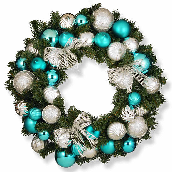 National Tree Co. Silver And Blue Ornament Evergreen Indoor/Outdoor Christmas Wreath