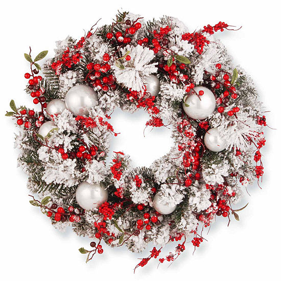 National Tree Co. Ornaments And Flocked Evergreen Indoor/Outdoor Christmas Wreath