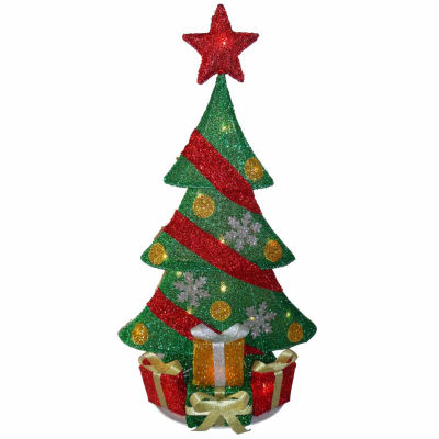 National Tree Co. Green Tinsel 2-D Pre-Lit Christmas Tree