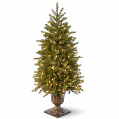 National Tree Co. 4 Foot Poly Jersey Fraser Fir Entrance Potted Pre-Lit Christmas Tree