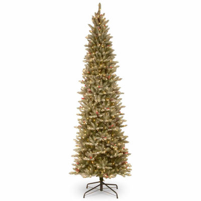 National Tree Co. 6 1/2 Foot Frosted Fir Slim Pre-Lit Christmas Tree