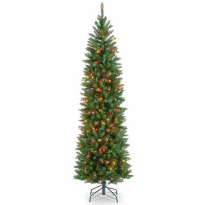 National Tree Co. 7 1/2 Foot Kingswood Fir Hinged Pencil Fir Pre-Lit Christmas Tree