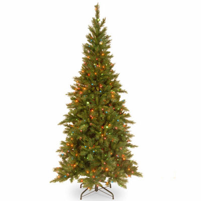 National Tree Co. 7 1/2 Foot Tiffany Slim Fir Fir Pre-Lit Christmas Tree
