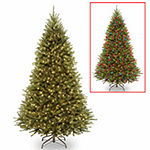 National Tree Co. 7 1/2 Foot Kingswood Fir Hinged Fir Pre-Lit Christmas Tree