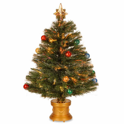 National Tree Co. 2 Foot Fireworks Ornament & Top Star Pre-Lit Christmas Tree