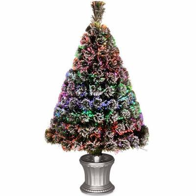 National Tree Co. 3 Foot Evergreen Flocked Pre-Lit Flocked Christmas Tree