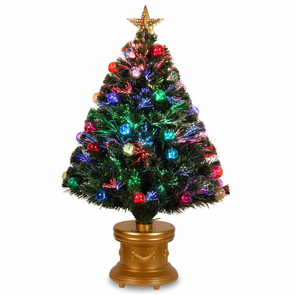 National Tree Co. 3 Foot Fireworks Ornament & Top Star Pre-Lit Christmas Tree