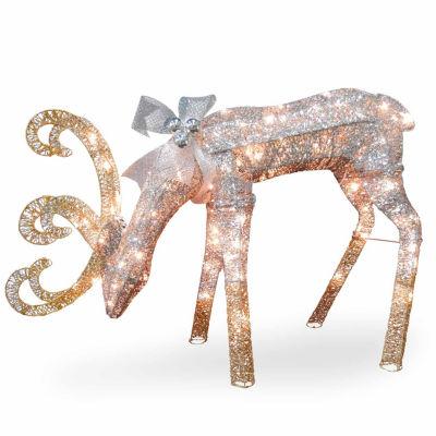 National Tree Co. Feeding Deer Christmas Holiday Yard Art