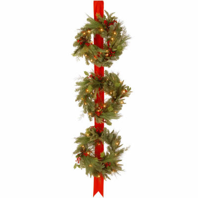 National Tree Co. Red Berries Holly Leaves And Pine Cones Indoor/Outdoor Christmas Wreath