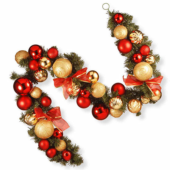 National Tree Co Red And Gold Ornament Evergreen Indoor Outdoor Christmas Garland
