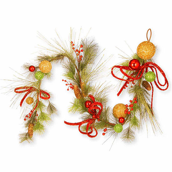 green and gold bristle christmas garland