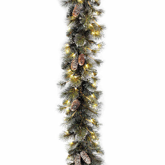 National Tree Co. Glittery Pine Snow Tipped Pine Cones Indoor/Outdoor Christmas Garland